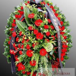 Фото 21 - Траурный венок из живых цветов ВЖЦ-37.