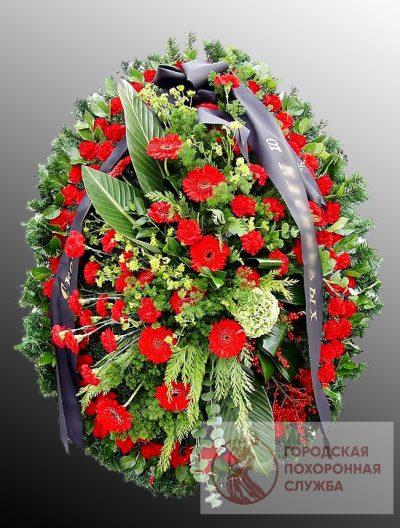 Фото 1 - Траурный венок из живых цветов ВЖЦ-37.