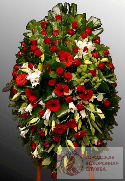 Фото 1 - Траурный венок из живых цветов ВЖЦ-40.