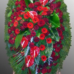 Фото 11 - Траурный венок из живых цветов ВЖЦ-46.