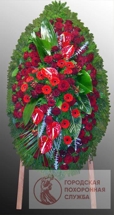 Траурный венок из живых цветов №46