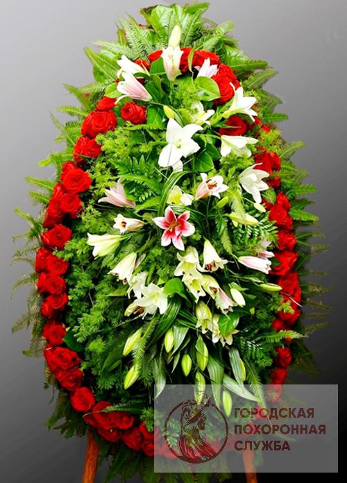 Траурный венок из живых цветов №48