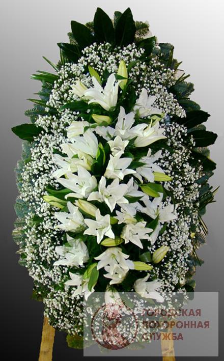 Траурный венок из живых цветов №52