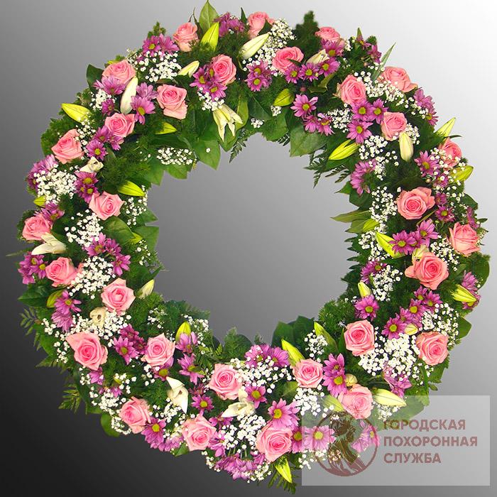Траурный венок из живых цветов №55
