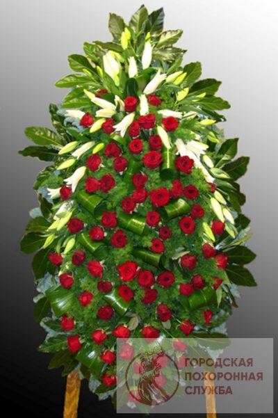 Фото 1 - Траурный венок из живых цветов ВЖЦ-56.