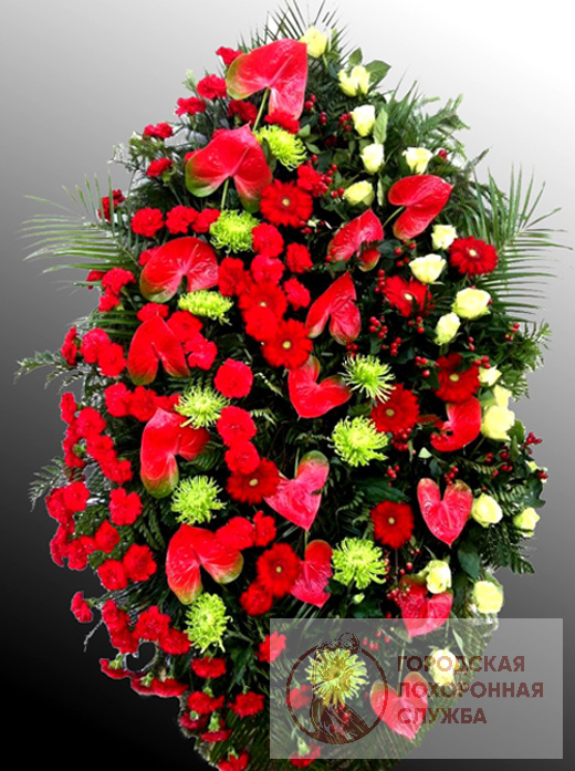 Траурный венок из живых цветов №58
