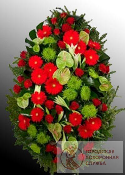 Фото 1 - Траурный венок из живых цветов ВЖЦ-60.