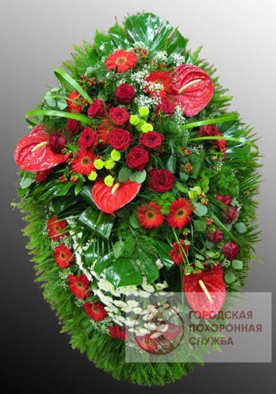 Фото 1 - Траурный венок из живых цветов ВЖЦ-61.