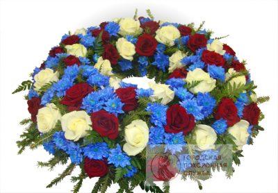 Фото 1 - Траурный венок из живых цветов ВЖЦ-65.