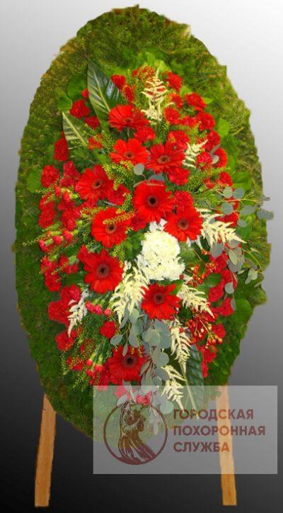 Фото 1 - Траурный венок из живых цветов ВЖЦ-66.
