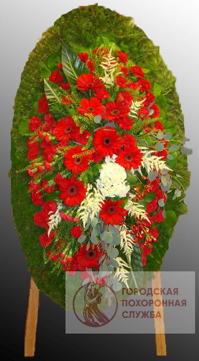 Траурный венок из живых цветов №66