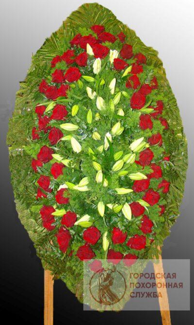 Фото 1 - Траурный венок из живых цветов ВЖЦ-69.