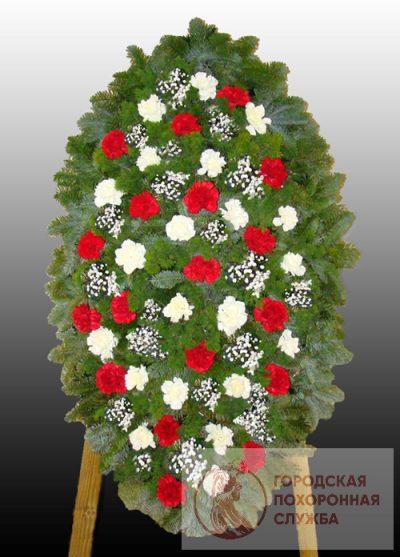 Фото 1 - Элитный ритуальный венок из живых цветов №9.