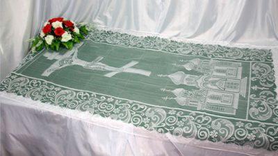 Фото 1 - Похоронное покрывало тюль 110 ПР-015.