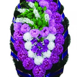 Фото 20 - Элитный венок из живых цветов сирень №4.