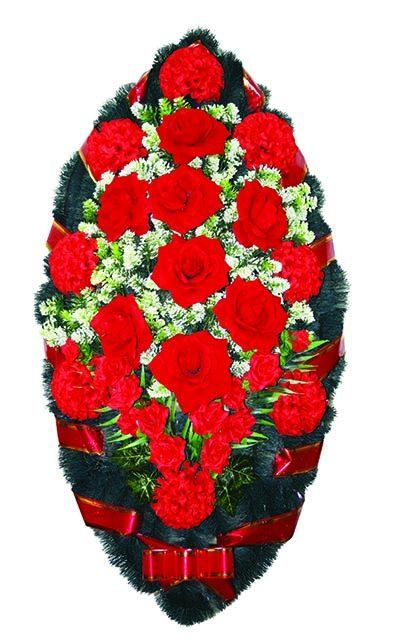 Фото 1 - Элитный венок из живых цветов бархат.