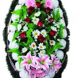 Фото 31 - Элитный ритуальный венок из живых цветов №26.