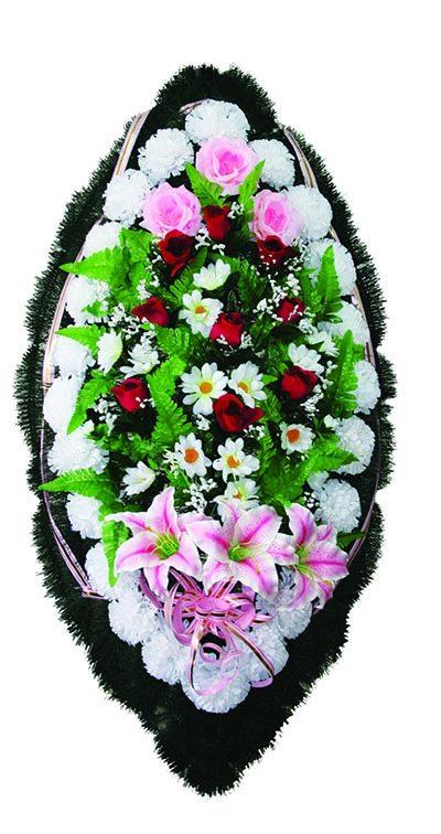 Фото 1 - Элитный ритуальный венок из живых цветов №26.