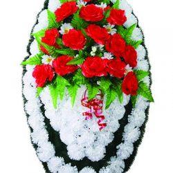 Фото 9 - Элитный ритуальный венок из живых цветов №25.