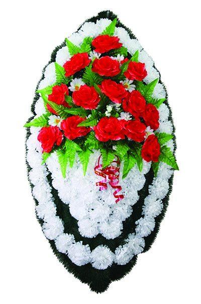 Фото 1 - Элитный ритуальный венок из живых цветов №25.