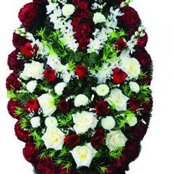 Фото 26 - Элитный ритуальный венок из живых цветов №24.