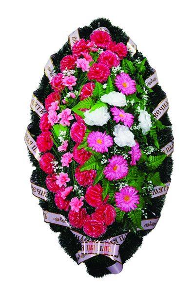 Фото 1 - Элитный ритуальный венок из живых цветов №23.