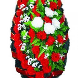 Фото 1 - Элитный ритуальный венок из живых цветов №22.