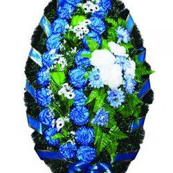 Фото 24 - Элитный ритуальный венок из живых цветов №21.