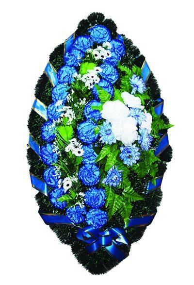 Фото 1 - Элитный ритуальный венок из живых цветов №21.