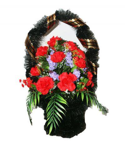Фото 1 - Ритуальная корзина из искусственных цветов ИК-02.