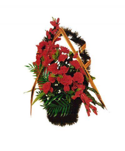Фото 1 - Ритуальная корзина из искусственных цветов ИК-03.