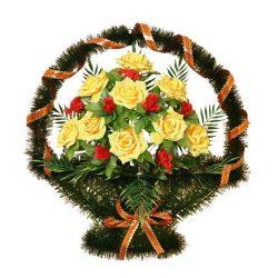 Фото 25 - Ритуальная корзина из искусственных цветов ИК-04.