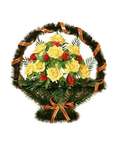 Фото 1 - Ритуальная корзина из искусственных цветов ИК-04.