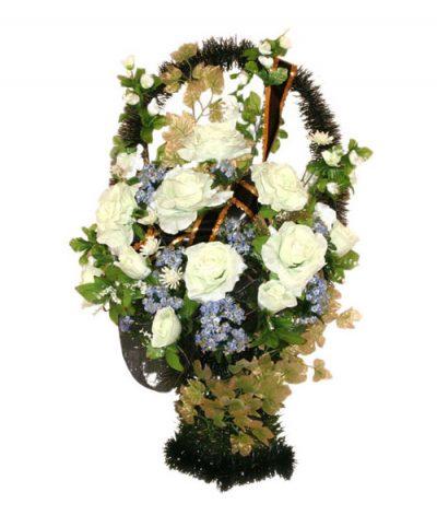 Фото 1 - Ритуальная корзина из искусственных цветов ИК-05.