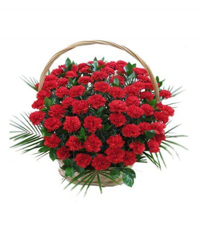 Фото 1 - Ритуальные корзина из живых цветов ЖК-01.