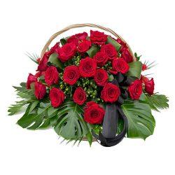 Фото 12 - Ритуальные корзина из живых цветов ЖК-02.