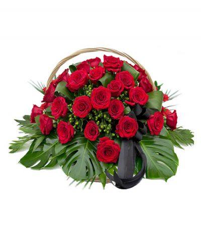 Фото 1 - Ритуальные корзина из живых цветов ЖК-02.
