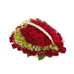 Фото 31 - Ритуальные корзина из живых цветов ЖК-03.