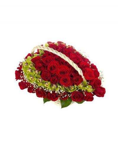 Фото 1 - Ритуальные корзина из живых цветов ЖК-03.