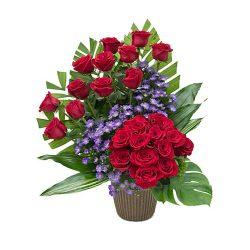 Фото 25 - Ритуальные корзина из живых цветов ЖК-04.