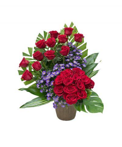 Фото 1 - Ритуальные корзина из живых цветов ЖК-04.