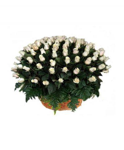 Фото 1 - Ритуальные корзина из живых цветов ЖК-06.