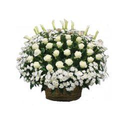 Фото 29 - Ритуальные корзина из живых цветов ЖК-07.