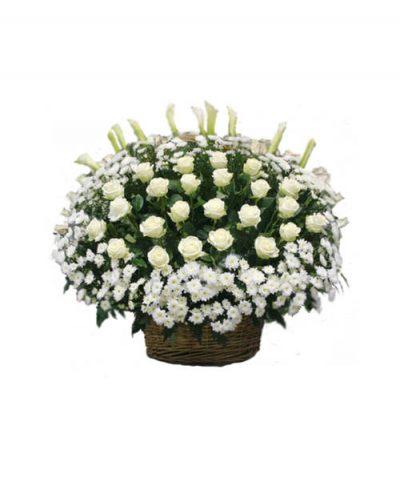 Фото 1 - Ритуальные корзина из живых цветов ЖК-07.