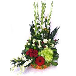 Фото 8 - Ритуальные корзина из живых цветов ЖК-08.