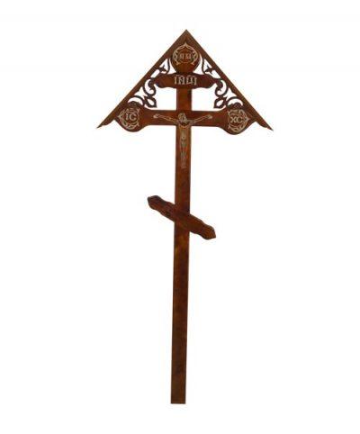 Фото 1 - Крест деревянный КДС-20 (фигурный домик с распятием фольга темный).
