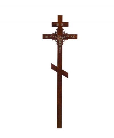 Фото 1 - Крест деревянный КДС-03 (угловой узор сосна темный).