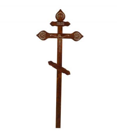 Фото 1 - Крест деревянный КДС-16 (фигурный с распятием фольга темный).