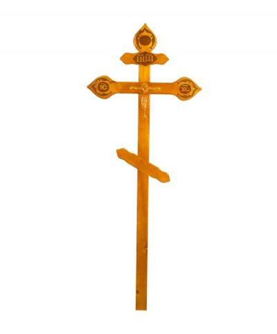 Фото 1 - Крест деревянный КДС-17 (фигурный с орнаментом сосна светлый).