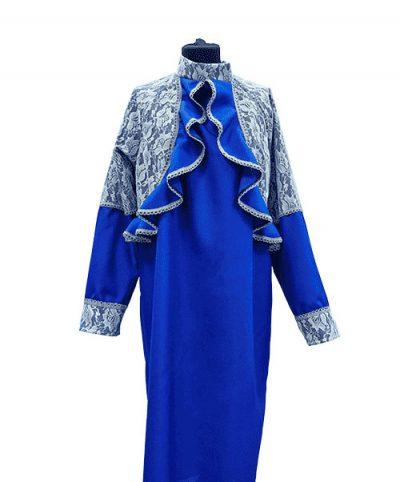 Фото 1 - Женская одежда для похорон Синий и белый Комплект.